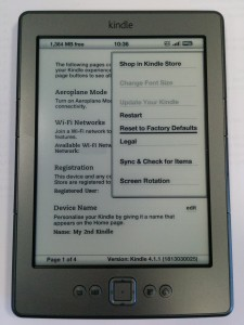 kindle factory reset screen